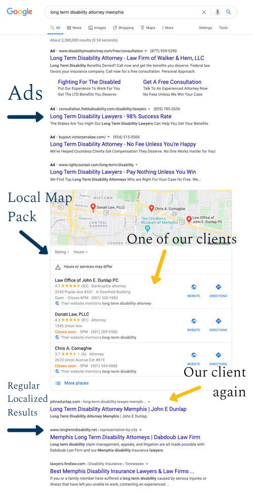 Lawyer SEO search results page example